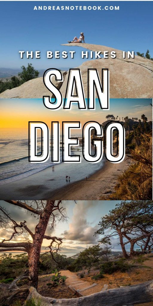 best places to hike in san diego: three images of potato chip rock, Swami's Beach and Torrey Pines hike