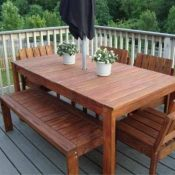 wood outdoor DIY dining table