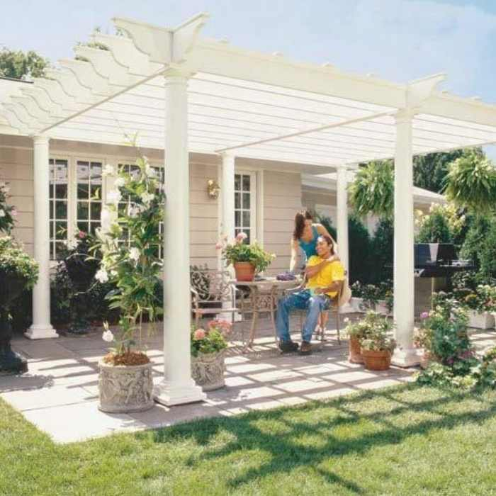 white wood patio pergola