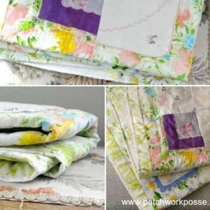 collage up close up images of a quilt made out of vintage sheets and hankies
