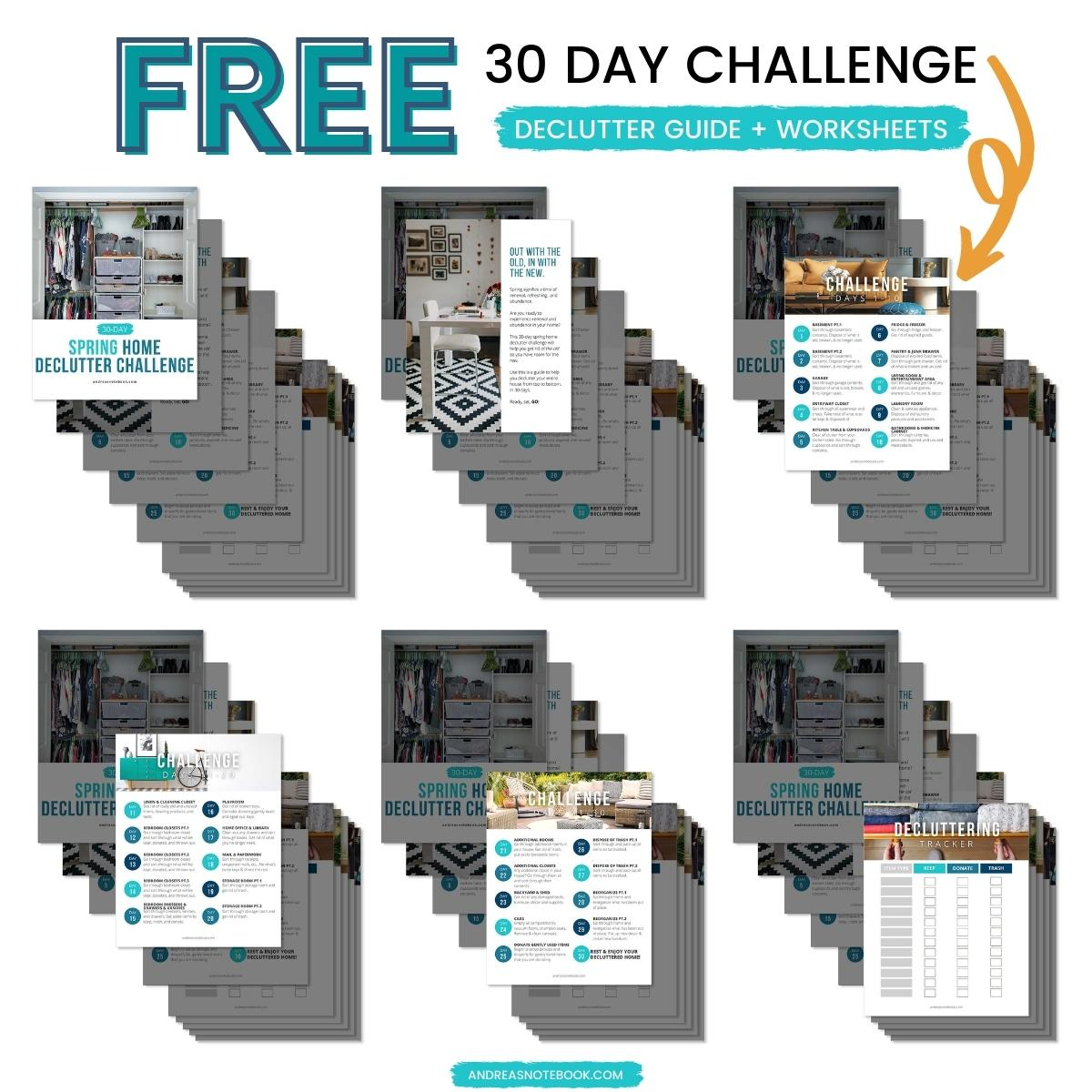 free 30 day challenge declutter guide and worksheet cleaning checklist - how to declutter your home, spring cleaning your messy house - stack of free PDF printables to help you declutter your home