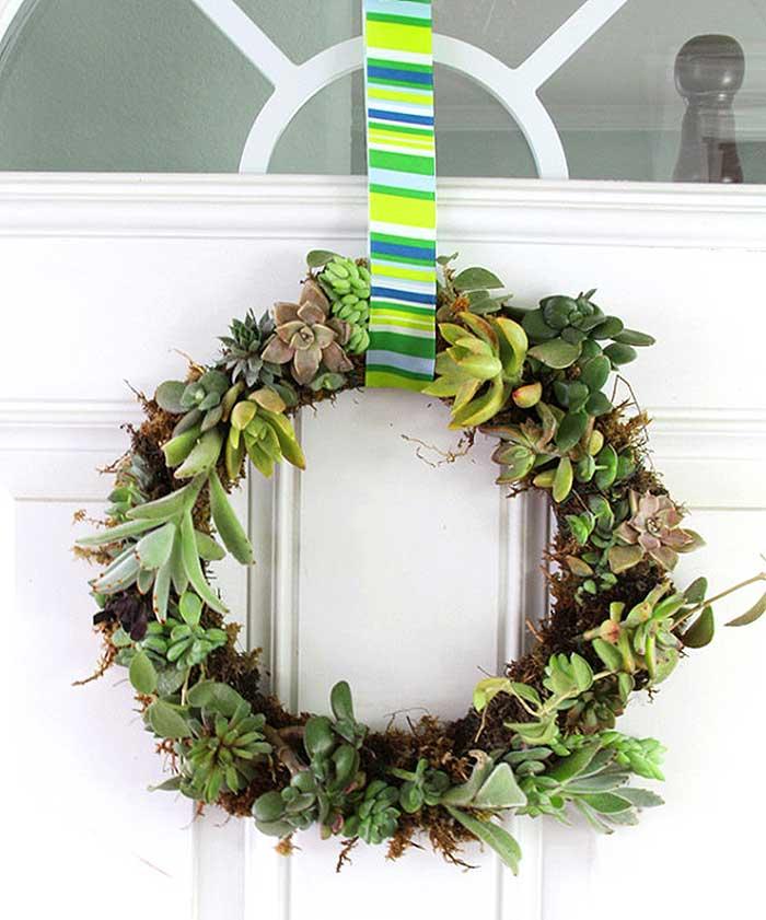 spring wreath DIY living wreath succulent wreath tutorial on a white door